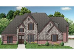 Home Plan HOMEPW10339 is a gorgeous 4409 sq ft, 2 story, 5 bedroom, 5 bathroom plan influenced by + Tudor style architecture.