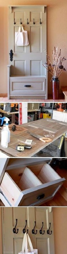 DIY Craft Project: Entry Bench Using Old Door's