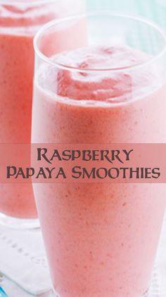 Raspberry Papaya Smoothies Papaya Recipes, Best Smoothie Recipes, Yummy Smoothies, Easy Healthy Recipes, Gluten Free Recipes, Papaya Smoothie, Fat Burning Smoothies, Protein Shakes, Gastronomia