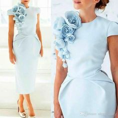 Light Blue Handmade Flowers Mother Formal Occasion Dresses 2018 Custom Make Vintage Tea-length Mother of The Bride Groom Dress