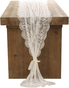 Ling's moment 32x120 Inches White Lace Table Runner Overlay Rustic Chic Wedding Reception Table Decor Boho Party Decoration Baby Bridal Shower Decor