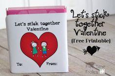 """Free Time Frolics: Let's """"Stick"""" together Valentine {Free Printable}"""