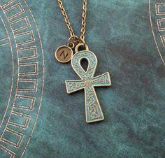 Ankh Necklace Patina Ankh Jewelry Bronze Ankh Charm by MetalSpeak