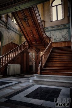 Old Mansions, Abandoned Mansions, Abandoned Houses, Abandoned Places, Old Houses, Stairs Architecture, Beautiful Architecture, Victorian Architecture, Modern Staircase