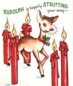 Rudolph the Red Nosed Reindeer Vintage Pop-Up Christmas Card