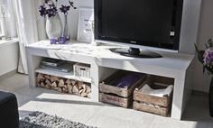 TV console - baskets underneath for movies, throws, games Living Room Inspiration, Home Decor Inspiration, Home Decor Items, Diy Home Decor, Floating Tv Cabinet, Happy New Home, New York Loft, Ikea Furniture, White Houses