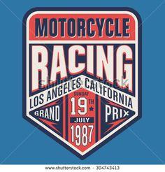 Motorcycle racing, typography, t-shirt graphics, vectors