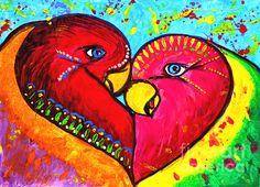 Love Painting Pop Art Love Birds Painting Love by JuliaApostolova Framed Art, Framed Prints, Art Prints, Love Birds Painting, Painting Art, Paintings, Modern Pop Art, Fabric Birds, Ikat Fabric