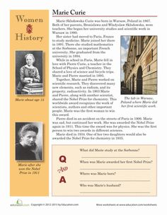 History Worksheets: Women in History: Marie Curie Social Studies Worksheets, 4th Grade Social Studies, Marie Curie For Kids, Marie Curie Family, History Projects, Science Projects, Teaching Culture, Biography Project, Culture Day