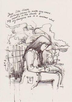 Illustrations by Jenny Yu Illustrations, Illustration Art, Art Sketches, Art Drawings, Drawn Art, Arte Sketchbook, Infp, Art Plastique, Art Inspo