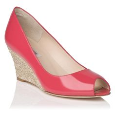 Zelita Patent Leather Peep Toe Wedge | Wedges | Shoes | L.K.Bennett, London | £170 | Colour: Pink - Power Pink