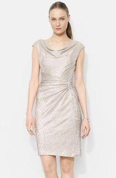 Lauren Ralph Lauren Side Shirred Metallic Sheath Dress available at #Nordstrom