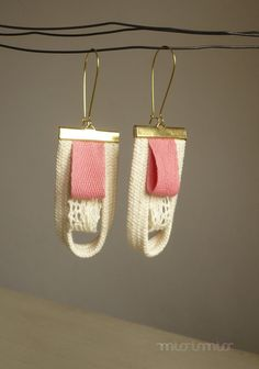 Eco friendly fashion long urban nautical dangle earrings. Natural cotton rope, lace,rose ribbon, gold hooks. Ready to ship