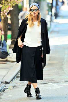 Olivia Palermo wearing a beanie.