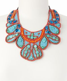 Look at this Turquoise & Red Beaded Bib Necklace on #zulily today!