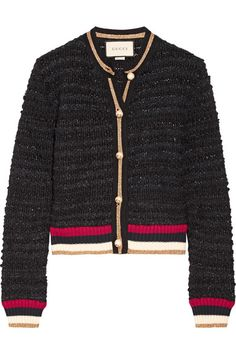 GUCCI Ribbed knit-trimmed bouclé-tweed cardigan. #gucci #cloth #