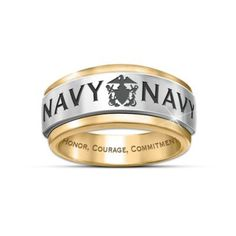 Solid stainless steel and 24K gold ion-plated men's ring with Navy emblem, spinning center band and engraving. Navy card and presentation case.