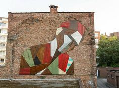This mural sculpture wasrecently completed byBelgian painter and sculptor Stefaan De Croock (aka Strook) aspart of the Mechelen Muurt Project. This inst