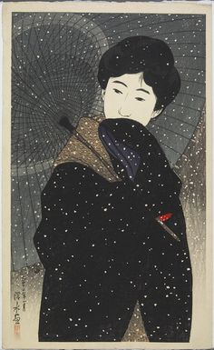 "Snowy Night, from the series ""New Twelve Images of Modern Beauties"" by Ito Shinsui"