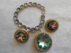 SCHIAPARELLI Signed Vintage Watermelon Crystal Bracelet & Earring Set!