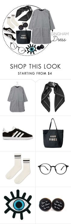 """""""Gingham Dress"""" by arodkilark ❤ liked on Polyvore featuring Equipment, adidas Originals, Venus and Topshop"""
