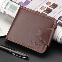 New Fashion Men's Business Wallets Casual PU Leather Money Bag Wallet Short Hasp Coin Packet Card Purse Man Clutch ID Holder