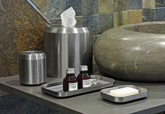 room360 Geneva Stainless Steel: t'cover, jar, soap dish, tray