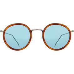 KYME Matti Round Mirror Sunglasses (18805 RSD) ❤ liked on Polyvore featuring accessories, eyewear, sunglasses, round tortoiseshell sunglasses, mirrored sunglasses, round mirror sunglasses, tortoise sunglasses and blue mirror sunglasses