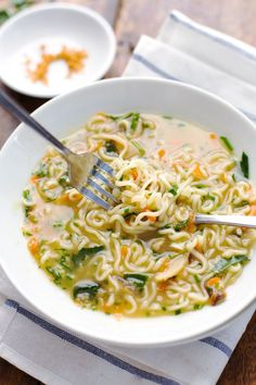 Quick Homemade Ramen -  comes to life with fresh vegetables, herbs, and homemade stock in just in 20 minutes! | pinchofyum.com