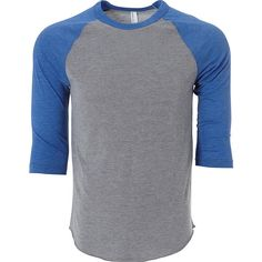 Simplex Unisex Triblend Raglan Tee - XS - Heather Grey/Royal - Shirts ($34) ❤ liked on Polyvore featuring tops, t-shirts, blue, blue shirt, raglan tee, heather gray shirt, heather grey t shirt and raglan shirts
