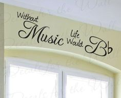 Without Music Life Would be Flat Band Piano Violin Guitar Singing Hobby Vinyl Sticker Art Large Wall Decal Quote Decor Decoration Large Wall Decals, Wall Decal Sticker, Wall Stickers, Vinyl Wall Quotes, Vinyl Art, Decal Printer, Piano Room, Music Wall, Music Artwork