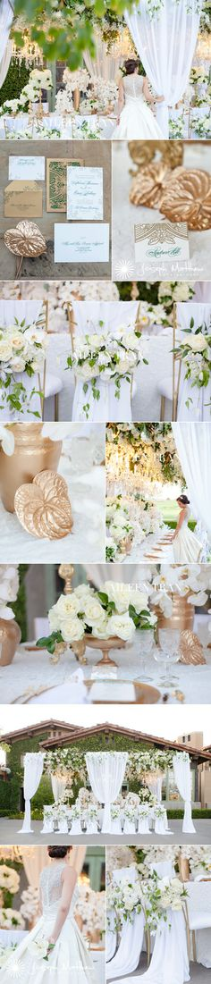 Glamorous white and gold garden wedding. Florals by Aileen Tran Stationary by Ceci New York  Photography by Joseph Matthew  www.aileentran.com