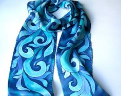 Small Silk Scarf Hand Painted Gift for her by SilkScarvesTakuyo