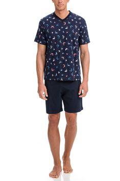 Vamp Ανδρική Νεανική Πυτζάμα Shark – Tartora.gr Bermuda Shorts, Sailing, Oxford, Button Down Shirt, Men Casual, Mens Tops, Cotton, Blue, Shirts