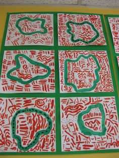 à la manière de Keith Haring - courbes et lignes    interieur/extérieur