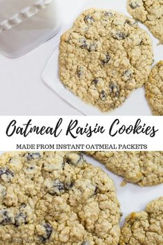 Oatmeal Cookies with Instant Oatmeal Packets - The Hobby Wife Instant Oatmeal Cookies, Instant Oatmeal Recipes, Best Oatmeal Cookies, Cookie Recipes, Dessert Recipes, Dessert Dishes, Bar Recipes, Cookie Ideas, Steak Recipes