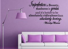 Imperfection Is Beauty Marilyn Monroe Quote by WallDecalsQuotes, $13.99