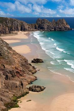 "I had no idea England had actual ""sandy""beaches.looks a nice contrast to castles n land Porthcurno North Cornwall, England. Amazing beautiful place and swimming in the sea is wonderful Places Around The World, The Places Youll Go, Places To See, Around The Worlds, Cornwall England, North Cornwall, West Cornwall, England Uk, London England"