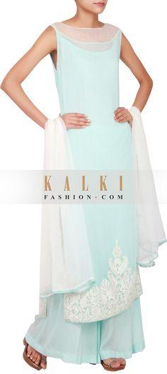 Get this beautiful Salwar-Kameez http://www.kalkifashion.com/sky-blue-georgette-straight-cut-salwar-kameez-embellished-in-thread-work-only-on-kalki.html