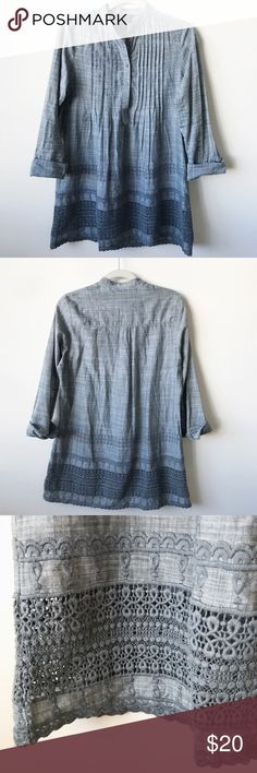Max Edition 100% Cotton Lace-Detailed Blouse Feminine pintuck button-down, popover blouse with lace embroidery detailing. Perfect with fitted jeans or leggings. Excellent pre-owned condition. Size: S. {No trades}  100% Cotton Max Edition Tops Blouses