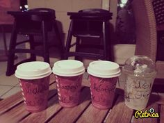 Starbucks in winter, hot chocolate and frappuchinooo!<3