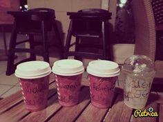 Starbucks in winter, hot chocolate and frappuchinooo!<3