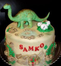 torta, cake s dinosaurom