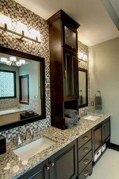 Traditional Master Bathroom with Simple granite counters, Ceramic Tile, Dolante 3 Light Vanity Light by Eurofase, flush light