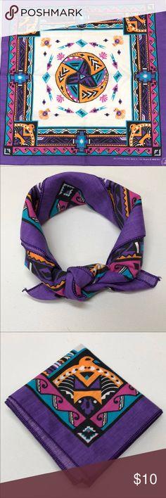 Vintage Aztec Print Bandana Gorgeous!! Looks never used. Estimate 1990s Vintage Accessories Scarves & Wraps
