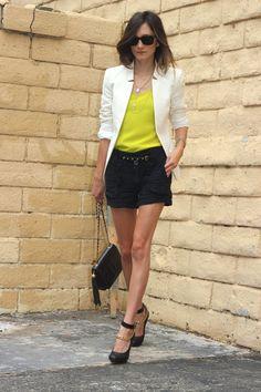 Blazer: Zara  Top: Club Monaco   Shorts: Hope & Glorie    Belt: Suemi   Shoes: Lanvin   Bag: Chanel