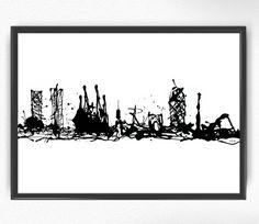 Barcelona Skyline arte pintura impresión blanco y negro de BCN las tintas goteo cartel hecho a mano de España ilustración impresión decoración de pared moderna de ciudad (064)
