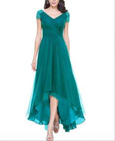 Cap Sleeve High-Low Long Prom Gowns,Bridesmaid Dresses,V Neck Evening Dress from WonderfulGowns High Low Prom Dresses, Long Prom Gowns, Evening Dresses, Dress Long, Teal Bridesmaid Dresses, Blush Dresses, Casual Dresses, Fashion Dresses, Formal Dresses