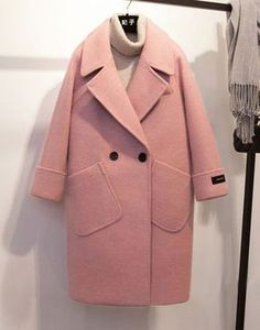 Spring Winter Wool Coat For Women 2018 jacket Casual Pink Coats Loose Turn-Down Collar Solid Wide-Waisted Long Wool Coat Look Rose, Coat Patterns, Skirt Patterns, Blouse Patterns, Clothes Patterns, Sewing Patterns, Winter Mode, Winter Stil, Mode Hijab
