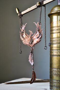 Phoenix copper necklace Metalsmith necklace by twistedByAna
